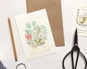Flowers illustrated card with kraft envelope, flowers illustration - botanical illustration - flowers bouquet cards - thank you cards