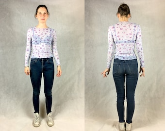 See-through top with floral pattern