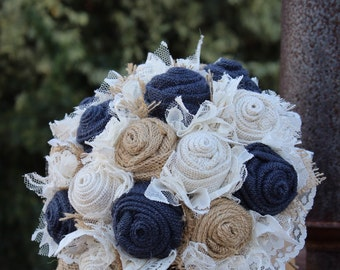 Navy Burlap and Lace Bridal Bouquet, rustic wedding bride's bouquet, rustic romance, burlap bouquet, navy wedding, keepsake bouquet, bride