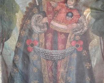 Antique oil Painting from Mexico,