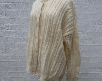 Cardigan knit jacket wool cardigan chunky top ladies cardigan 80s clothing womens cardigan handknitted 80s womans cardigan knitted wool top