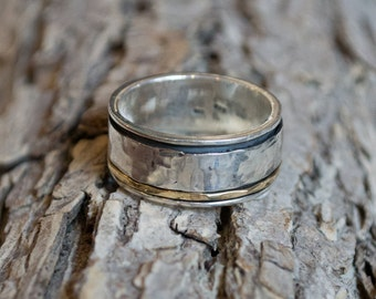 Mens Wedding band, silver band, silver gold band, Wedding ring, boho chic jewelry, unisex band, two tone ring, spinner ring - I Love R1149F
