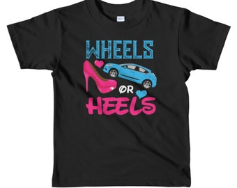 Shower Party Gifts Shirt / Wheels or Heels Gender Reveals T-Shirt for Kids/ Baby Shower Gift / KIDS