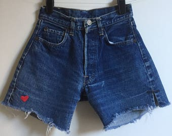 Embroidered Vintage Red Tab Levis Cutoffs // Blue Denim Jean Shorts Heart Embroidered Small X Small 23 24 25
