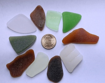 10 assorted colors - white, brown, seafoam, green - surf-tumbled Chesapeake Bay rough natural SEA GLASS  - for crafts or collecting