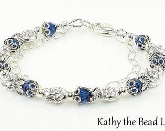 Swarovski Bracelet - Swarovski Blue Sapphire Karen Hill Tribe Silver Bead and Chain Bracelet - KTBL