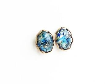 Tiny Blue Studs Blue Opal Earrings Vintage Glass Harlequin Fire Opal Post Earrings Hypoallergenic Studs Iridescent Blue