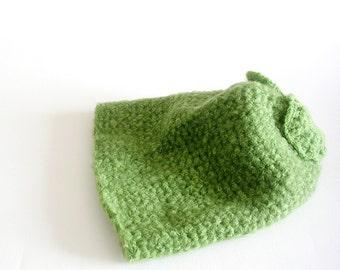Green Slouchy Beanie Crochet Hat Ooak