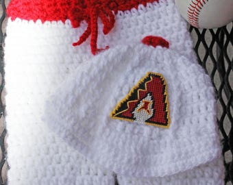 CUSTOM  Arizona Diamondbacks D'backs-inspired Cap and Pants SET Newborn size Crochet yarn