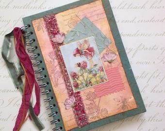 NOTEBOOK, journal, sketchbook . A5 .  ' Clover Fairy ' . OOAK . MIxed media . UK seller...Ready to ship......