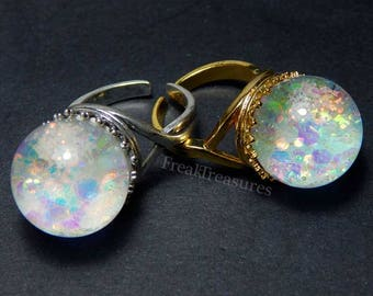 "Magic water globe ""Kawaii Opal"" adjustable ring witchy gipsy, moonchild, mermaid"