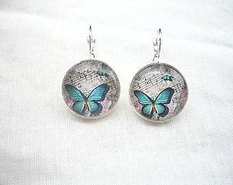 Earrings cabochon blue butterfly