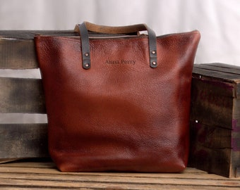 Zipper Tote bag - Multi Purpose Everyday Market Bag - Cowhide Top Grain Leather - Handcrafted Leather Bag - Antique Leather Women office Bag
