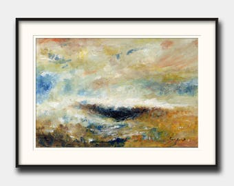 """Abstract landscape """"sombra en el mar"""" - abstract seascape - modern art  - abstract print art wall - Print from an Oil painting by Juan Bosco"""