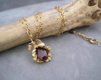 Garnet Flower Bud Necklace - Garnet and Gold Pendant - Birthstone Jewelry - Flower Bud Pendant - Nature Inspired - Garnet Briolet