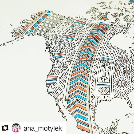 Weltkarte Poster Färbung-Reise-Karte der Welt Erwachsenen