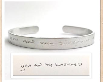 Handwriting Cuff Bracelet   Engraved Personalized   Custom Actual Handwriting   Hidden Message   Aluminum Lightweight