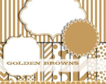 Gold digital paper clip art, frame clipart, brown chevron scrapbooking stripe background digital invitation : p0176 3s4350 IP