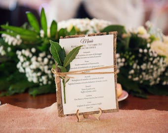 10 Country/Shabby chic menu with bark base
