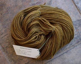 Picholine Olives, 218 yards of hand dyed worsted merino yarn