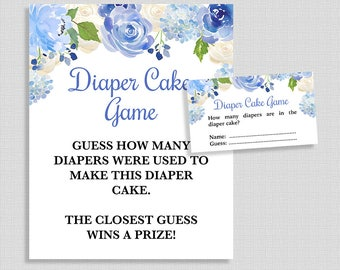 Blue diaper cake etsy diaper cake shower guessing game blue watercolor floral guess how many diapers baby shower reheart Choice Image