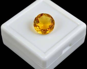 6.50 Ct. Round Shape Brazilian Yellow Golden Citrine Loose Gemstone