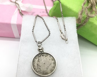 """1911 nickel necklace, sterling silver coin necklace, 1911 v nickel, silver coin necklace, coin jewelry, 24"""" silver necklace, gift for him"""