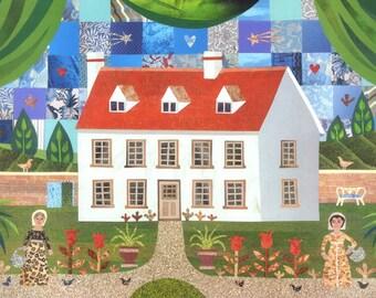 Jane Austen-Grußkarte, Steventon, Karte für Bücherfreund, Kunst, Sampler, Geburtstagskarte, Garten, Schriftsteller Häuser, stolz und Vorurteil