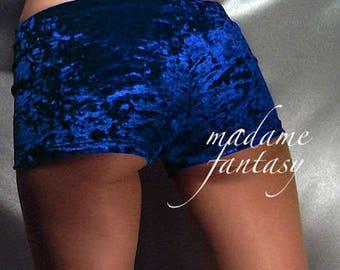 Crushed velour micro shorts hot pants royal blue