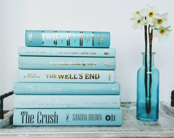 Spa blue and seafoam green 7 book set. For reading, wedding, table display, or centerpiece