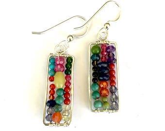 Long Abacus Dangle Earrings Multicolored Semi Precious Beaded Silver