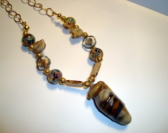 Arabian Nights Necklace, Lampwork Urn, Lampwork Beads, Bronze Chain, Neutral Colors, Statement Necklace, Modern Necklace, Antiquity