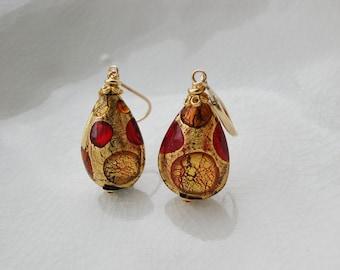 Red Murano Peardrop Glass Earrings