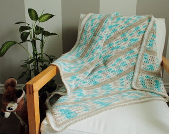 Baby blanket - aqua and taupe