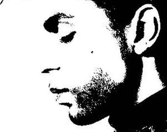 """Painted on canvas black and white """"PRINCE"""" 30 x 40 POP ART choose profile or side"""