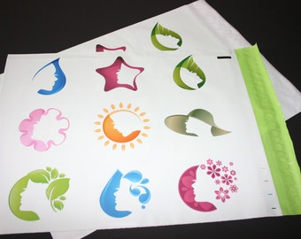 50 12x15.5  Designer Poly Mailers Pink Green Silhouette Self Sealing Envelopes Shipping Bags