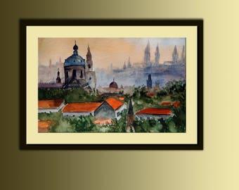 Original Watercolour Painting 11'' X 17'' Handmade Modern Art Home Decor Sunrise