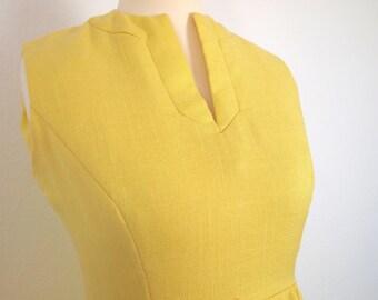 1960s Summer Lemon Yellow Mod Shift Dress