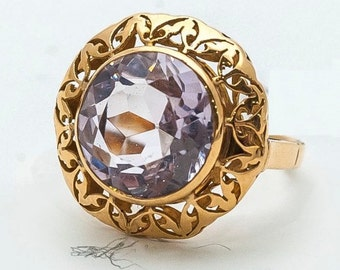 Ring old Mineralife round clear Amethyst yellow gold