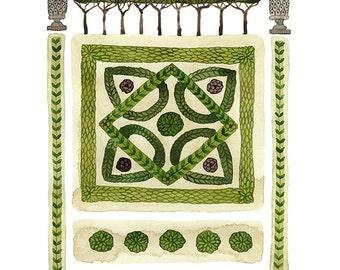 GROßE Knoten Garten Nr. 2 zu drucken, Aquarell Reproduktion, Giclee print, Garten planen, englischer Garten Illustration, pflanzlichen Stoffen