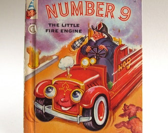 Vintage Number 9, A Rand McNally Elf Book, Fire Engines, 1960's, Read Aloud Story, Bedtime Story, Kids Classic