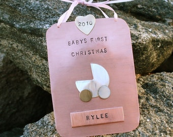 Baby's First Christmas Copper Hand Stamped Ornament