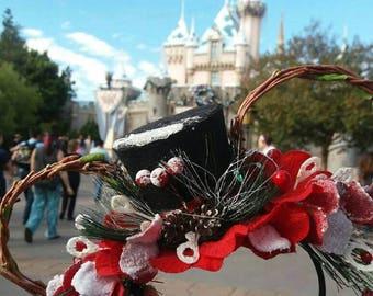 Flower Crown Mouse Ears Holiday Christmas
