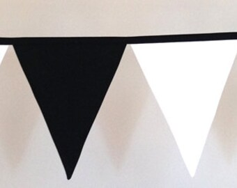 Black and White Fabric Bunting Banner Flags