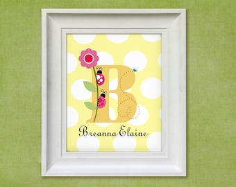 Nursery Wall Art - Ladybug Monogram 8x10 Personalized Print Baby Room Decor