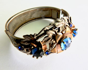 1930s Cobalt Glass Cuff Silver and Gold Tone