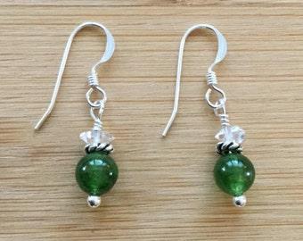Canada Jade Earrings, Sterling Silver Earrings, Herkimer Diamond Earrings, Green Gemstone Earrings, Jade Jewelry