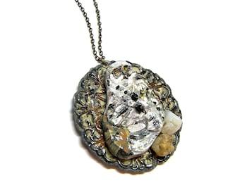Owl Pendant Wearable Art Pendant Hand Painted Pendant Owl Pendant Assemblage Jewelry Top Selling Jewelry Unisex Pendant