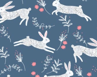 Frolic- Bunny Hop(Ice)- Dear Stella Cotton Fabric- Bunny,Animal,Blue-Modern Nursery