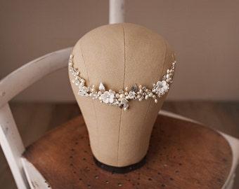 Flore Flower Hair vine Wedding Headpiece, Bridal Hair Jewellery, Rose Gold Head Piece, Gold Flower Vine, Ivory Floral Wedding Hairpiece,